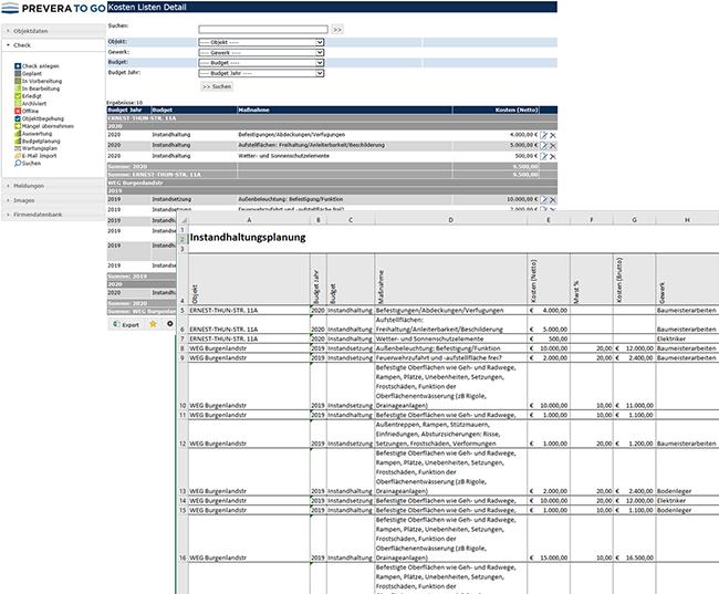 PREVERA TO GO - Budgetplanung Screenshot